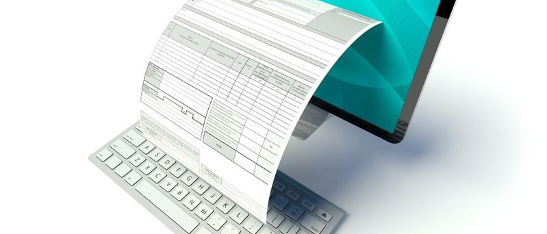 26441032 - desktop computer screen with tax form or invoice